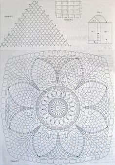 "Photo from album ""cr mac nov 2014 on Yandex. Crochet Doily Diagram, Crochet Mandala Pattern, Granny Square Crochet Pattern, Crochet Flower Patterns, Crochet Squares, Crochet Chart, Crochet Granny, Irish Crochet, Crochet Doilies"