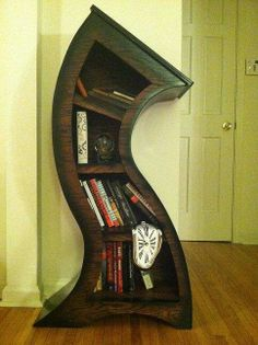 FREE MELTING CLOCK with purchase,Handmade Curved Bookshelf Oak Stained/Blk (I have the clock already actually, just need the shelves) Melting Clock, Cool Bookshelves, Bookcases, Tree Bookshelf, Bookshelf Ideas, Curved Wood, Curved Lines, Oak Stain, Funky Furniture