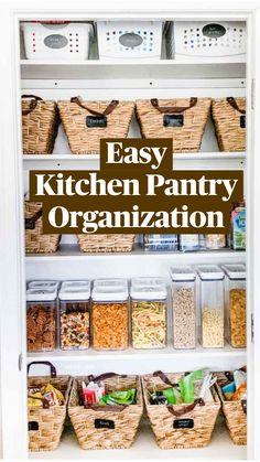 Kitchen Pantry Design, Kitchen Organization Pantry, Diy Kitchen Storage, Home Organization Hacks, Organize Food Pantry, Organised Kitchen Diy, Organizing Home, Organizing Ideas For Kitchen, Kitchen Without Pantry
