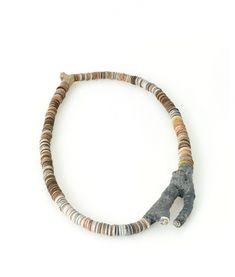 Silke Spitzer. Breathing, Aluminum Twig, 2014, necklace: Anodized Aluminum, wood, plastic, fabric, 13.5 x 7.5 x .85 inches