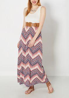 Bandana Chevron Belted Maxi Dress