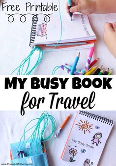 My Busy Book for Travel print this busy book for a on the go busy bag! great for vacations, outings, shops or staycations! Your toddler and preschooler will love it! Kids Travel Activities, Airplane Activities, Road Trip Activities, Toddler Activities, Toddler Busy Bags, Kids Bags, Diy Cahier, My Busy Books, Quiet Books