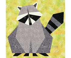 Raccoon paper pieced quilt block pattern by PieceByNumberQuilts, $3.00