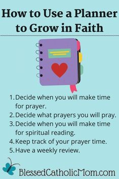 Knowing how to use a planner to grow in faith can help you to grow closer to God and focus more on Him each day. Follow these tips. #PlanPrayerTime #PrayMore #PlannerTips #UseAPlanner #CatholicFaith The Good Catholic, Catholic Books, Catholic Liturgical Calendar, Divine Mercy Chaplet, Deeper Life, Prayer Times, Planner Tips, Spirituality Books, Feeling Overwhelmed