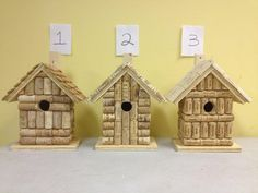 Wine cork and wood birdhouse, bird house handmade from real wine corks.