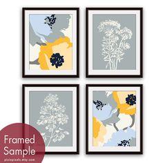 Flower and Geometric Patterns (Series C) Set of 4 - Art Prints (Blue, Grey, Yellow color scheme) Botanical Art Print