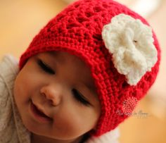 Crochet Baby Hat Red White Flower - Valentine - Any Size - made to order. $18.00, via Etsy.