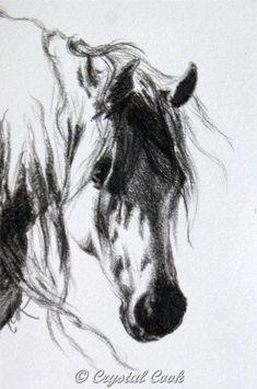 water color painting of miniatur horses | Arabian Horse Art Original Drawing Black and White miniature art OOAK ...