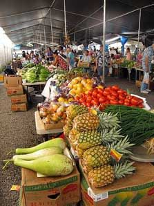farmers market, Kauai, Hawaii.....these are held all over the island on certain days of the week....wonderful and reasonable.  Supports local producers.