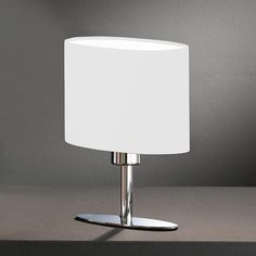 Hotel Tischleuchte mit Stoffschirm in ovaler und 25 cm Höhe Led Shop, White Table Lamp, Table Lamps, Standing Table, Led Lampe, Room Lights, Light Fittings, Elegant, Modern Design