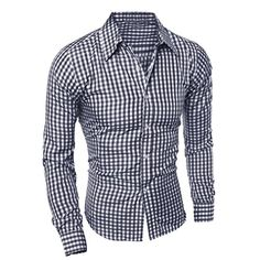 2017 New Men's Fashion Casual Lapel Button Down Plaid Long-Sleeved Slim Fit Shirt Top Casual Shirts For Men, Men Casual, Smart Casual, Casual Wear, New Mens Fashion, Business Shirts, Slim Fit Dress Shirts, Mens Clothing Styles, Shirt Style