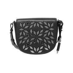 Mackage Rima-A Pebble Leather Crossbody Studded Satchel in Black (3 210 SEK) ❤ liked on Polyvore featuring bags, handbags, studded satchel purse, studded crossbody purse, satchel crossbody, chevron purse and studded handbags