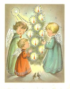 Vintage Christmas Card,  Angels Cherubs with Glowing Tree, Unused, Coronet Collection