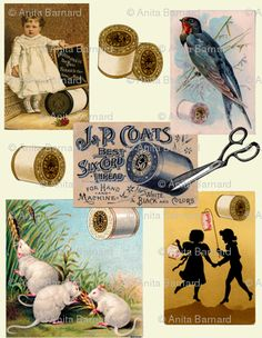 Vintage thread ads fabric or wrapping paper