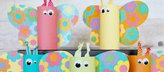Toilet paper tube butterflies / Pillangók wc papír gurigákból / Mindy - creative craft ideas for everyday Diy Father's Day Crafts, Recycled Crafts Kids, Easy Easter Crafts, Spring Crafts For Kids, Holiday Crafts For Kids, Easter Crafts For Kids, Crafts For Kids To Make, Toilet Roll Craft, Toilet Paper Roll Crafts