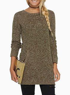 Raglan-sleeve hearthered knit tunic medium