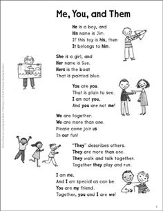 Me, You, and Them (Personal Pronouns): Sight Words Poem by Scholastic Teaching Pronouns, Pronoun Activities, Pronoun Worksheets, Teaching Grammar, English Activities, Grammar Lessons, Teaching English, Prepositions, English Pronouns