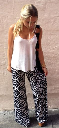 5e349cc69472 Palazzo Pants - Wide Leg Harem Gaucho Pants - Solid   Patterned Print  Design (Large   X-Large
