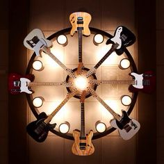 Amazing Chandelier designed by Brad Paisley for a room at a children's hospital. #telecaster #guitar #cool Learn to play guitar online at www.studio33guitarlessons.com