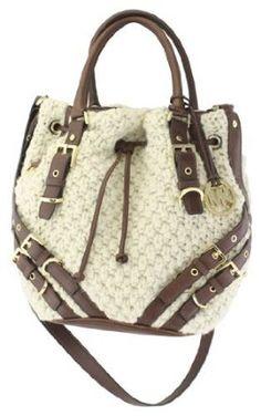Michael Kors Milo Cream Large Drawstring Tote Wool Knit $395.00