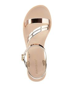 Bamboo Strappy Metallic Flat Jelly Sandals