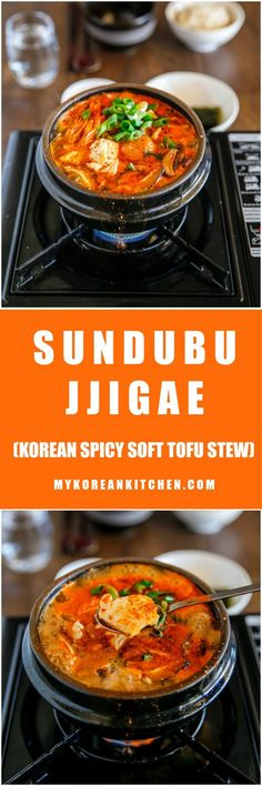 Sundubu Jjigae (Korean Spicy Soft Tofu Stew) - My Korean Kitchen - chryssa-ideas-recipes K Food, Good Food, Yummy Food, Healthy Food, Korean Dishes, Korean Food, Chinese Food, Seitan, Tempeh