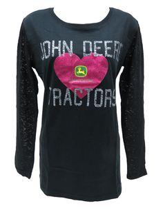 John Deere Glitter Heart on Black L/S Tee w/ Burnout Sleeves