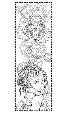 "Free Printable Steampunk Coloring Pages   steampunk coloring pages   Steampunk Bookmark to Color"" by alyssastar ..."