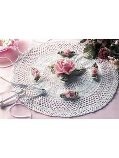 Crochet Doilies - Floral Doily Crochet Patterns - Ribbon Rose Doily -- I like it WITHOUT the roses