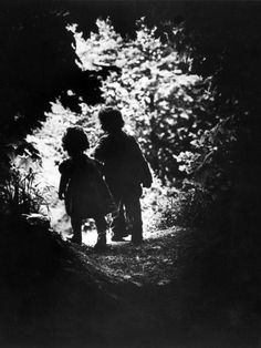 Children of Photographer with Eugene Smith Walking Hand in Hand in Woods Behind His Home  W. Eugene Smith
