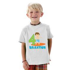 Surfer Boy Birthday Personalized T-Shirt by shirtsbynany on Etsy