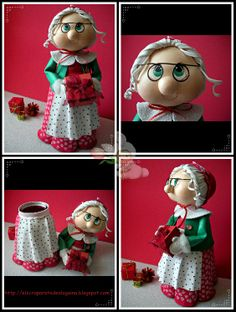 A WIDE VARIETY of dolls for all seasons on this site.very, very cute, and they are made from fun foam and clay.something for everyone on this site.so dang cute! Polymer Clay Christmas, Polymer Clay Crafts, Polymer Clay Miniatures, Bottle Art, Bottle Crafts, Clay Jar, Christmas Crafts, Christmas Ornaments, Decorated Jars