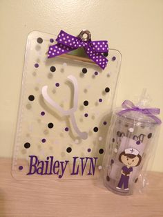 Gift set: Now in 20 oz size - Personalized with name acrylic tumbler and clipboard - Cute Dental hygienist or Nurse, RN on Etsy, $28.50