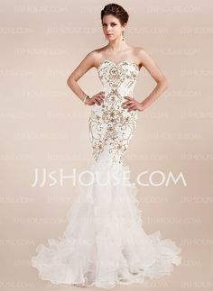 Evening Dresses - $232.99 - Mermaid Sweetheart Court Train Organza Charmeuse Evening Dress With Lace Beading (017019554) http://jjshouse.com/Mermaid-Sweetheart-Court-Train-Organza-Charmeuse-Evening-Dress-With-Lace-Beading-017019554-g19554