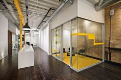 Wood and yellow office
