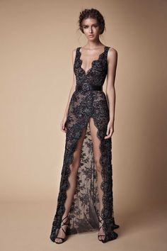 Black Lace Evening Dresses Beaded High Split Prom Dress Pageant Gowns 2018 V-neck Sexy Backless Berta Celebrity Red Carpet Occasion Dress
