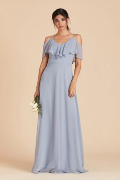 Jane Convertible Chiffon Bridesmaid Dress in Dusty Blue – Birdy Grey Light Blue Bridesmaid Dresses, Bridesmade Dresses, Bridesmaid Dresses With Sleeves, Affordable Bridesmaid Dresses, Grey Bridesmaids, Blue Dresses, Chiffon Dress Bridesmaid, Dusty Blue Dress, Prom Dresses