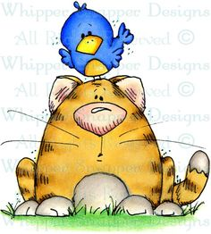 Cat & Bird - Cats - Animals - Rubber Stamps - Shop