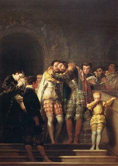 Saint Francis Borgia Taking Leave of His Relatives Painting by Francisco de Goya Francisco Goya, Spanish Painters, Spanish Artists, Aragon, Old Paintings, Catholic Saints, St Francis, Old Master, Printmaking