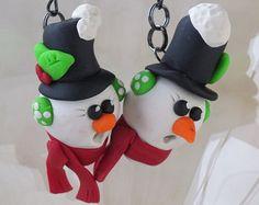 Snowman Earrings, Polymer Clay, Earrings for Girls, Tween, Women, Funny Earrings, Christmas Sweater Earrings, Winter, Polymer Clay Earrings