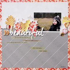 Beautiful by Els Brigé. Love the patterned leaves! #silhouette #scrapbooking #layout