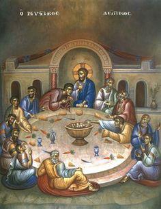 Religious Images, Religious Art, The Last Supper Painting, Holy Thursday, Byzantine Icons, Holy Week, Catholic Art, Orthodox Icons, Art And Architecture