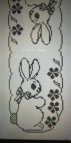 Cross Stitch Alphabet, Cross Stitch Animals, Easter Crochet Patterns, Crochet Doilies, Fillet Crochet, Easter Crafts, Needlepoint, Diy And Crafts, Tapestry