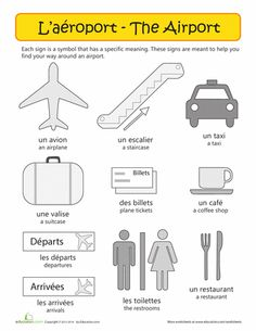 Worksheets: French Airport Vocabulary
