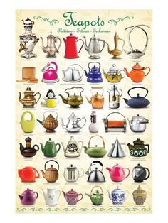 size: Stretched Canvas Print: Teapots Collage : Using advanced technology, we print the image directly onto canvas, stretch it onto support bars, and finish it with hand-painted edges and a protective coating. Packing List Beach, Buch Design, Tea Art, Painting Edges, Stretched Canvas Prints, High Tea, Afternoon Tea, Tea Time, Tea Cups