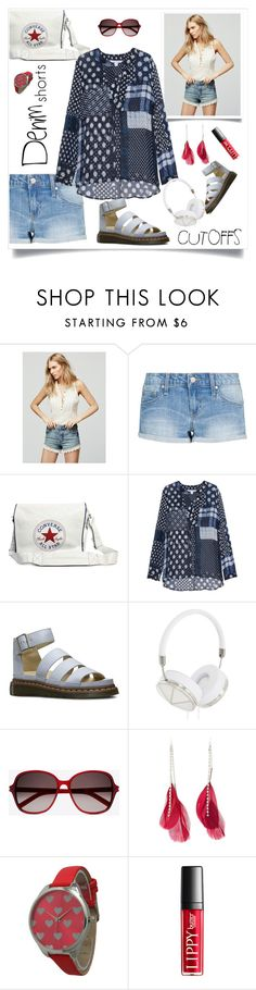"""""""Daywear"""" by hani-bgd ❤ liked on Polyvore featuring Free People, MANGO, Converse, Diane Von Furstenberg, Dr. Martens, Frends, Yves Saint Laurent, Charlotte Russe, Olivia Pratt and jeanshorts"""