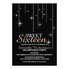 Sweet 16 Sparkle Decor Birthday Party Invitation