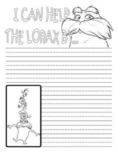 Celebrate Earth Day by having your Kindergarten, 1st grade, or 2nd  grade student write about what they can do to help the earth. Adorable Lorax themed page includes lines to help with proper letter formation.
