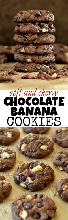 Soft and chewy without being the least bit cakey! These healthier Double Chocolate Banana Cookies are vegan and refined sugar free, but so fudgy and flavourful that you'd never be able to tell they were healthy! | runningwithspoons... #cookies #chocolate