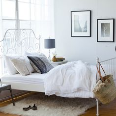 maybe this Ikea bed for the guest room. I love the idea of the textured rug underneath! Ikea Bedroom, Home Bedroom, Bedroom Decor, Ikea Beds, White Iron Beds, Ikea Bed Frames, Murphy Bed Ikea, Master Bedroom Design, Master Suite